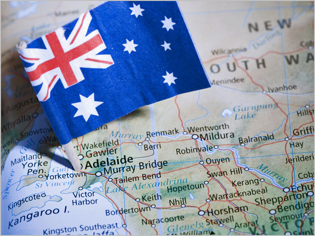 Close up of a map with a flag marking Adelaide, Australia,